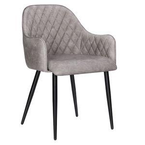 SONGMICS Esszimmerstuhl mit Armlehnen PolyurethanBezug Vintage bis 110 kg belastbar Sessel Polsterstuhl grau LDC085G01