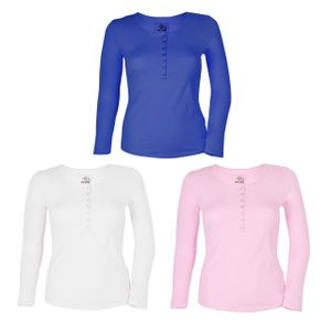 GIN TONIC Damen Langarm Shirt mit Knopfleiste, Größe:L, Farbe:Blau