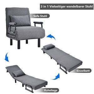 Umwandelbarer Schlafsofa-Schlafsessel, verstellbare Rückenlehne mit 6 Positionen, Freizeit-Chaise Lounge-Couch für Zuhause, Büro