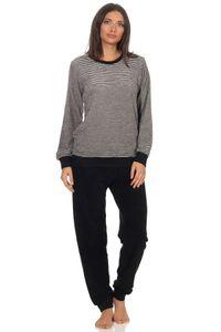Damen Frottee Pyjama Schlafanzug mit Bündchen in eleganter Streifenoptik - 291 201 13 781, Farbe:grau-melange, Größe:44/46
