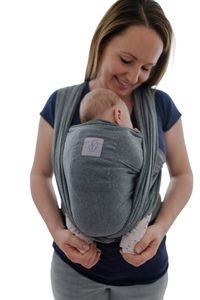 Babytragetuch mit Vordertasche inkl. Baby Wrap Carrier Tasche und Anleitung - langes elastisches Tragetuch für Früh- und Neugeborene Kleinkinder