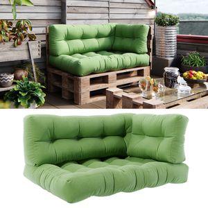 Vicco Palettenkissen Set Sitzkissen + Rückenkissen + Seitenkissen 15cm hoch Palettenmöbel Flocke grün