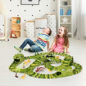 GOPLUS Dinosaurier Rennstrecken-Set, Rennbahn für Kinder ab 3 Jahren, Autobahn mit 240 Stücke/8 Dinosaurier/Rennauto/4 Bäume, Tracks Bahn Biegbar, Geschenk für Jungen oder Mädchen