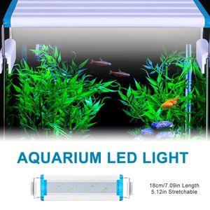 Aquarium LED-Licht 18 cm Aquarium LED-Lampe 5,12 Zoll ausziehbare Halterungen LED-Aquariumleuchte fuer Suesswasser bepflanzte Tanks Weiss-Blau Licht ,S