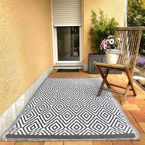 Outdoor Teppich Rhombs Grau Weiß 120x180cm