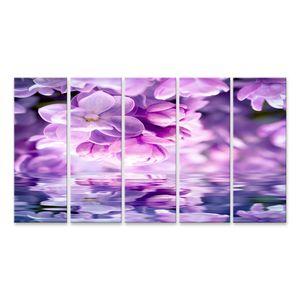 Bild Bilder auf Leinwand Flieder Blume Blüte Blüte Wasserspiegelung Wasserreflexion Licht Grußkartenvorlage Zart getönter Naturhintergrund Wandbild Poster Leinwandbild QBXE