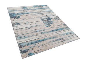 Teppich Blau Beige Polyester 160 x 230 cm Kurzflor Abstraktes Muster Modern Bedruckt Rechteckig