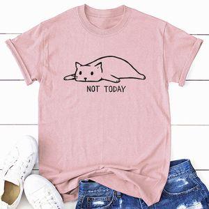 Lustiges Frauen-T-Shirt nicht heute Karikatur-Katzenbuchstaben drucken Baumwolle Rundhals Kurzarm Casual TopsL