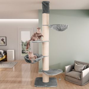 happypet® Kratzbaum XXL deckenhoch   250 - 275 cm    für große Katzen   mit Deckenspanner   17 cm dicke Sisalstämme   45 cm Liegemulde   Main Coon   GRAU
