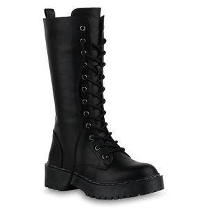 Mytrendshoe Damen Worker Boots Stiefel Schnürer Profil-Sohle Schuhe 836072, Farbe: Schwarz PU, Größe: 36