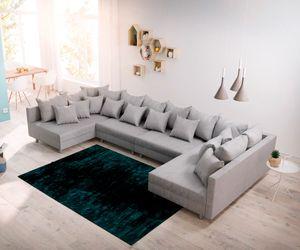 Couch Clovis XL Grau Flachgewebe Wohnlandschaft modular