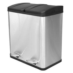 Mülleimer mit 2 Behältern | Duo Treteimer 2x20 l | Abfalltrenner Müllsortierer