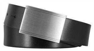 MONTI POTSDAM Gürtel Herrengürtel Ledergürtel Schwarz 8027, Länge:110, Farbe:Schwarz