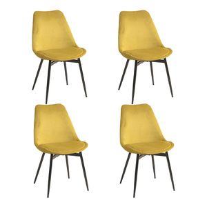 Yata Home 4 X Esszimmerstuhl Küchenstuhl Skandinavischer Samt Gepolsterter Sitz Dicke Stühle Stabile Metallbeine (Gelb)
