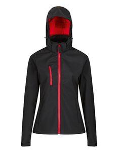 Regatta Professional Damen Softshell-Jacke Venturer 3-layer Printable Hooded Softshell Jacket TRA702 Mehrfarbig Black/Classic Red 44 (18)