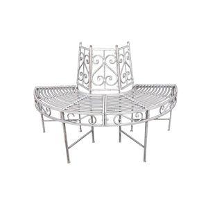 Garden Pleasure Metall-Baumbank Varda halbkreisförmig, Farbe Antik-Weiß