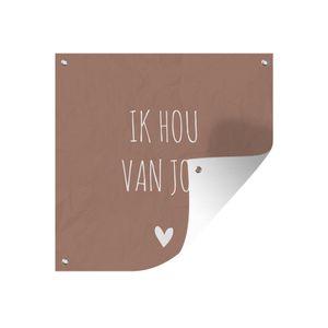 Gartenposter - Holländisches Zitat: 'Ich liebe dich' mit weißem Herz auf indisch-rötlichem Hintergrund - 100x100 cm