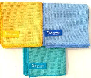 Jemako Trockentücher 3er Set, 45 x 60 cm, blau, grün und gelb + DiWa Wäschenetz