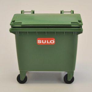 SULO Mini Müllcontainer Miniaturnachbildung des SULO Müllgroßbehälters MGB 660 Liter mit Flachdeckel Tischmülltonne Abfalltonne (Grün)