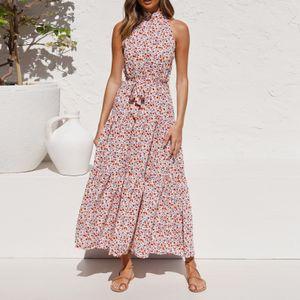 Frauen aermelloses Kleid Neckholder Hals Rue schen Saum Langes Kleid Empire Taille Bogen Tupfen Floral Elegant Casual A-foermiges Kleid,Rose-L