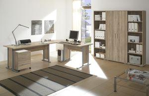 Büromöbel-Set OFFICE LINE Schreibtisch Eckschreibtisch Winkelschreibtisch Eiche