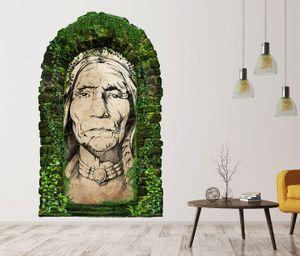 3D Wandtattoo Garten Tor Dschungel Indianer Häuptling alt Skizze Feder Pflanzen Tür Gewölbe Wand Aufkleber Wandsticker 11FB319, Größe in cm:27cmx45cm