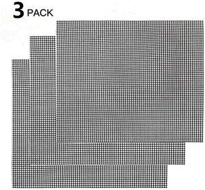 Gitter Grillmatte 3er Set - Backmatte Eckig, Dauer-Backmatten, Antihaftbeschichtung, LFGB und FDA Zulassung (Schwarz, 42 * 36 cm)