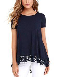 Damen Spitze Rundhalsausschnitt Kurzarm Top T-Shirt,Farbe: Dunkelblau,Größe:XXL