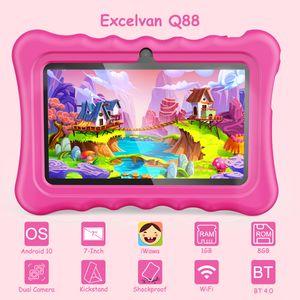EXCELVAN 7 Zoll Kinder Tablet PC mit Android 10 1GB +8GB GMS Dual Kamera Kindersichere stoßfeste Pink Silikonhülle Einstellbare kinder Tablets , EU