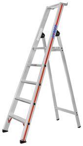 Hymer Stufenstehleiter mit Plattform, einseitig begehbar, 5 Stufen, senkr. Höhe 1,78 m, Reichhöhe 3,16 m, Gewicht 6,7 kg