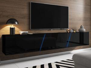 TV-Lowboard schwarz Hochglanz Lack Hängend oder Stehend XXL Flat-TV Board Slant mit LED Beleuchtung Breite 240 cm