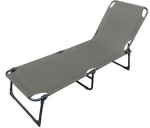 Luxus Campingliege Sonnenliege Gartenliege grau L188xB57xH30cm
