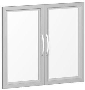 Geramöbel Glastürensatz satiniert im Holzrahmen, für Korpusbreite 800 mm, inkl. Türdämpfer, nicht abschließbar, 2 Ordnerhöhen, Silber, S-382901-GT