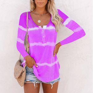 Frauen Gradient Striped Langarm T-Shirt Pullover Casual Shirt Top,Farbe: violett,Größe:M