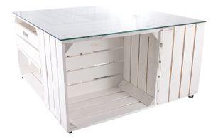 1x Couchtisch weiß aus 4 Kisten, zusätzlich mit Schublade, Glasplatte und auf Rollen / 81x81x44 cm