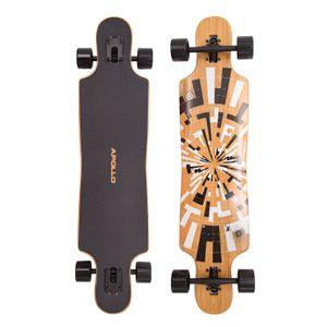 "Apollo Longboard ""Soul Flex 1"" Twin Tip DT Komplettboard 101,6 x 24 cm 8 Lagen Holzdeck (Top & Bottom Bambus)"