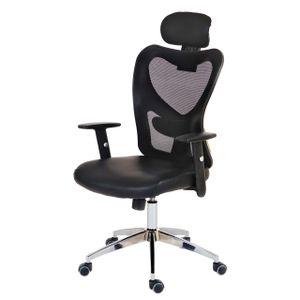 Profi-Bürostuhl Atlanta, Chefsessel Drehstuhl Schreibtischstuhl, Kunstleder  schwarz
