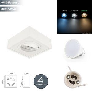 LED line Deckenleuchte CUBO MIDI Einbaustrahler Unterputz Leuchte Schwenkbar 45° Eckig Weiß aus Aluminium mit Fassung GU10 5W Leuchtmittel Warmweiß