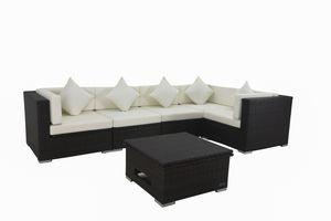 OUTFLEXX XXL Lounge Sofaset inkl. höhenverstellbarer Loungetisch, aus hochwertigem Polyrattan in braun für 6 Personen, inkl. weiche  Polster und Boxfunktion, zeitloses Design, wetterfest