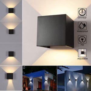 7W LED Wandleuchten Innen/Außen beleuchtung Wandlamp Einstellbarer Warm Lichtstrahl Gartenlampe IP56 3000K