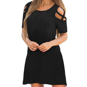Frauen Sommer Kreuz Kurzarm Off Shoulder T-Shirt Kleid Größe:L,Farbe:Schwarz