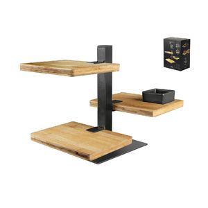 GUSTA Etagere Holz-Metall 18x12,8x24,5cm, 3 Ebenen, natur/schwarz