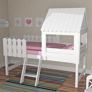 Hochbett BAUMHAUS Hausbett mit  Lattenrost, Spielbett Massivholz weiß, 90x200cm UVP 798,- Euro