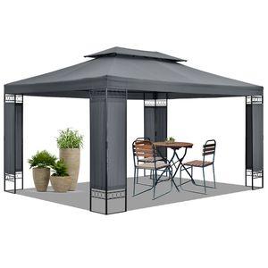 Juskys Gartenzelt Capri 3 x 4 m in grau – Outdoor Pavillon wasserabweisend – für Garten-Feste und Feiern – aus stabilem Metall und Polyester