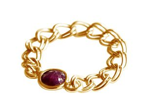 Damen Ring Vergoldet Rubin Rot Beweglich Geschmeidig