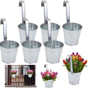 6 x Blumentopf Hängetopf Pflanztopf Hängetöpfe Blumen Topf Kräutertopf Zink