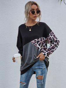 Damen Long Sweat Shirt Oberteil Oversized Pullover Leger Sweater Longsleeve Elegant Leoparden Muster, Farben:Schwarz, Größe:S