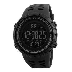 1251 männer Digitale Sport Uhr Wasserdichte Stoppuhr Countdown-Auto Datum Alarm Farbe Schwarz