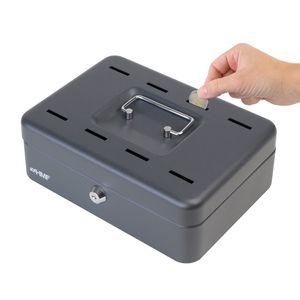 HMF 2088-02 Geldkassette 8 Sparfächer, Spardose, 25 x 18 x 9 cm, schwarz
