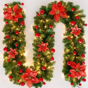 Weihnachtsgirlande, 2.7M Kamine Treppen verzierte Girlanden LED beleuchtet Verzierungs-Weihnachtskranz für Inneneinrichtung (Rot)